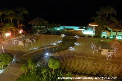 The garden and pool at night