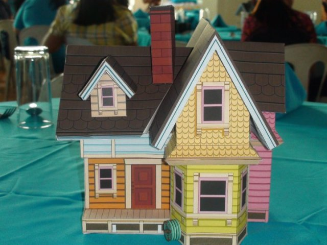 A miniature version of the house from Up the movie as table centerpiece