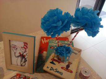 Dr. Seuss books and pom poms