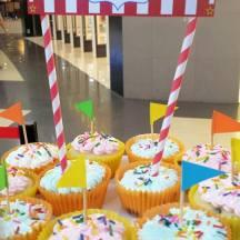 Circus Fun banners as cupcake tower topper