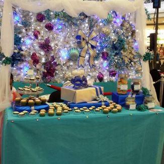 Our Winter Wonderland buffet table setup